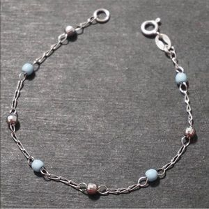 Jewelry - New 14K White Gold on 925 Silver Beaded Bracelet